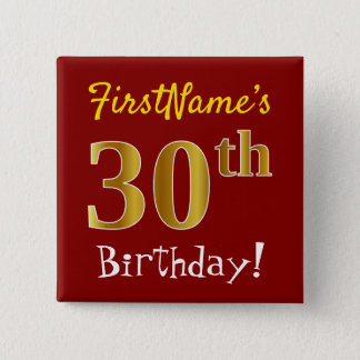 Red, Faux Gold 30th Birthday, With Custom Name 15 Cm Square Badge