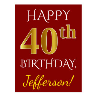 Red, Faux Gold 40th Birthday + Custom Name Postcard