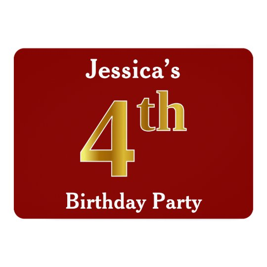 Red, Faux Gold 4th Birthday Party + Custom
