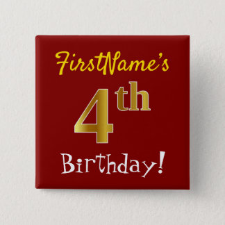 Red, Faux Gold 4th Birthday, With Custom Name 15 Cm Square Badge
