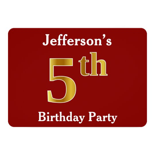 Red, Faux Gold 5th Birthday Party + Custom Name Card
