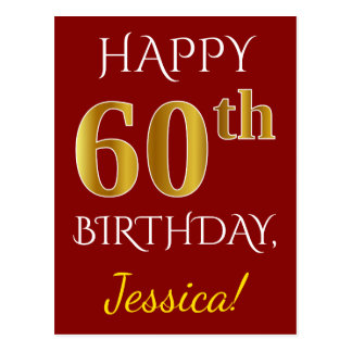Red, Faux Gold 60th Birthday + Custom Name Postcard
