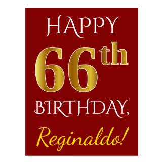 Red, Faux Gold 66th Birthday + Custom Name Postcard