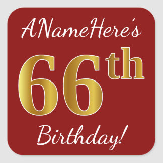 Red, Faux Gold 66th Birthday + Custom Name Sticker