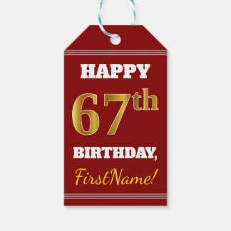 Red, Faux Gold 67th Birthday + Custom Name Gift Tags