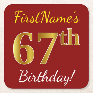 Red, Faux Gold 67th Birthday + Custom Name Square Paper Coaster