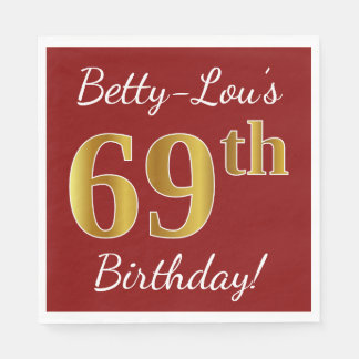 Red, Faux Gold 69th Birthday + Custom Name Disposable Napkins