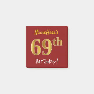 Red, Faux Gold 69th Birthday, With Custom Name Post-it Notes