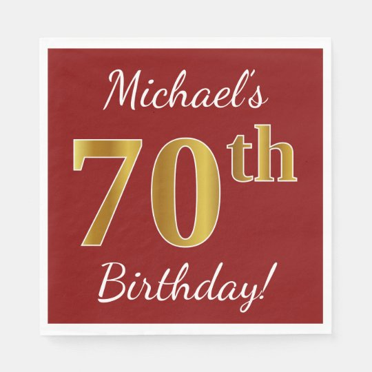 Red, Faux Gold 70th Birthday + Custom Name