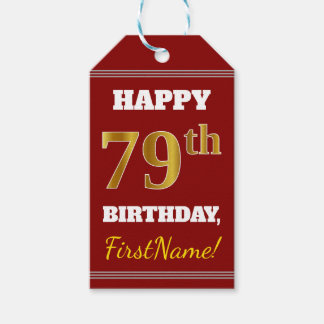 Red, Faux Gold 79th Birthday + Custom Name Gift Tags