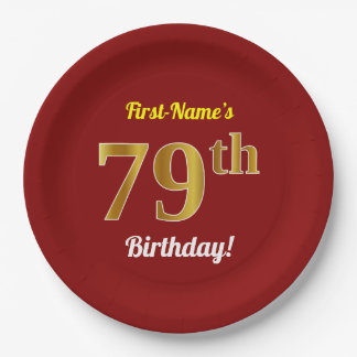 Red, Faux Gold 79th Birthday + Custom Name Paper Plate