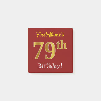 Red, Faux Gold 79th Birthday, With Custom Name Post-it Notes
