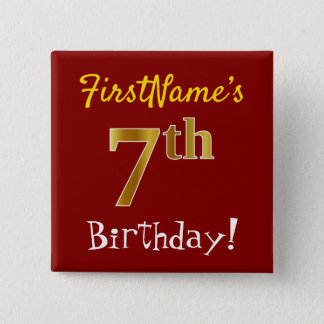 Red, Faux Gold 7th Birthday, With Custom Name 15 Cm Square Badge