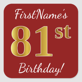 Red, Faux Gold 81st Birthday + Custom Name Sticker
