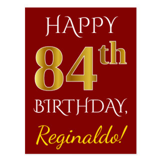 Red, Faux Gold 84th Birthday + Custom Name Postcard