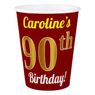 Red, Faux Gold 90th Birthday + Custom Name Paper Cup