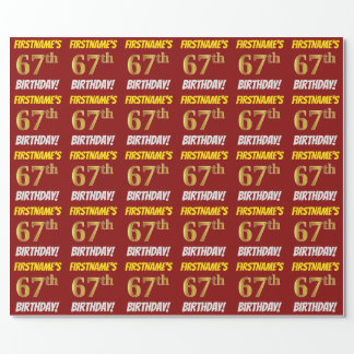 """Red, Faux/Imitation Gold, """"67th BIRTHDAY"""" Wrapping Paper"""