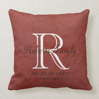 Red Faux Leather Monogram Anniversary Throw Pillow
