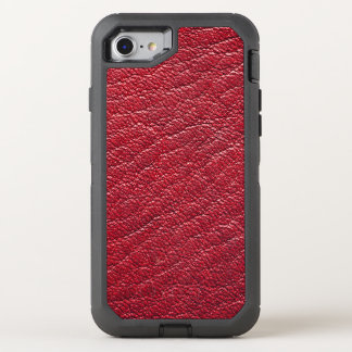 Red Faux Leather Professional OtterBox Defender iPhone 8/7 Case