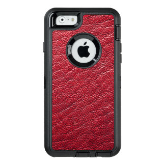 Red Faux Leather Professional OtterBox Defender iPhone Case