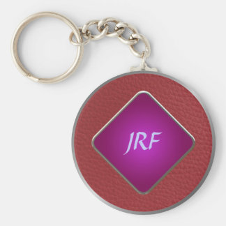 Red Faux Textured Leather Key Ring