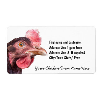 Red Feathered Chicken Egg Layer Hen Shipping Label