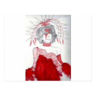 Red Feathers Fashion Postcard