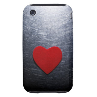 Red Felt Heart on Stainless Steel Background iPhone 3 Tough Cover