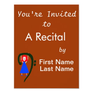 Red female blue dress blue bass clef 11 cm x 14 cm invitation card