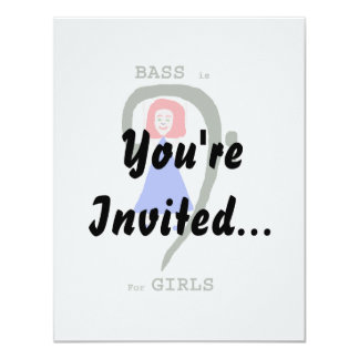 Red female blue dress green bass clef n text 11 cm x 14 cm invitation card