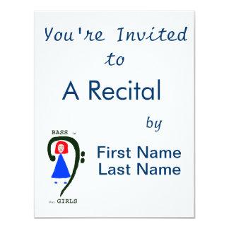 Red female blue dress green bass clef n text 4.25x5.5 paper invitation card