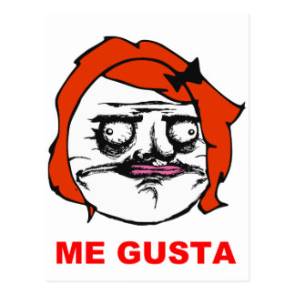 Red Female Me Gusta Comic Rage Face Meme Post Card