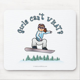 Red Female Snowboarder Mouse Mat