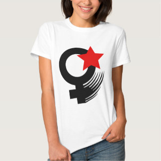 Red Feminist Action Style on White Baby Doll Tee Shirts