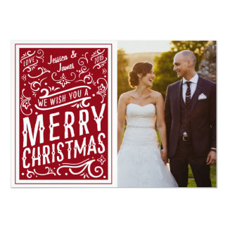 Red Festive Christmas Typography Photo Card LOVE