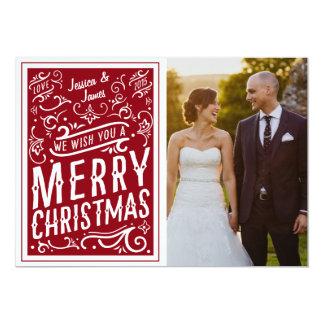 Red Festive Christmas Typography Photo Card LOVE 13 Cm X 18 Cm Invitation Card