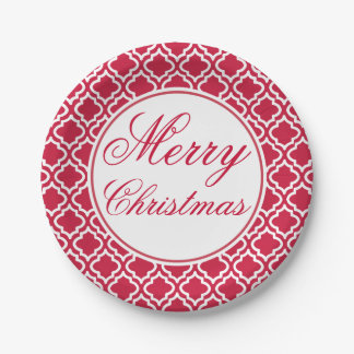 Red Festive Merry Christmas Party Paper Plates