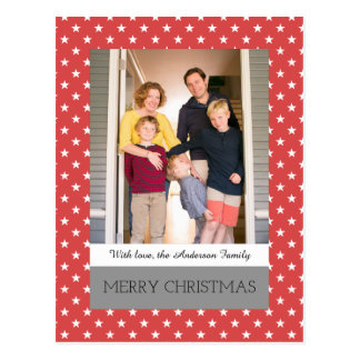 Red Festive Stars Holiday Photo Postcard