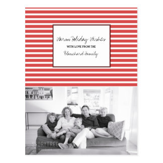 Red Festive Stripes Holiday Photo Postcard