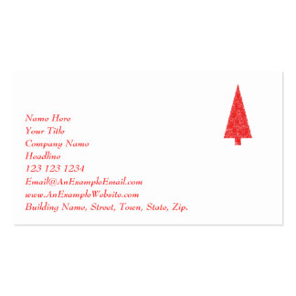 Red Festive Tree. Red and White. Christmas. Pack Of Standard Business Cards
