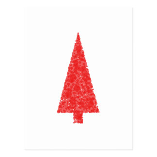Red Festive Tree. Red and White. Christmas. Postcard