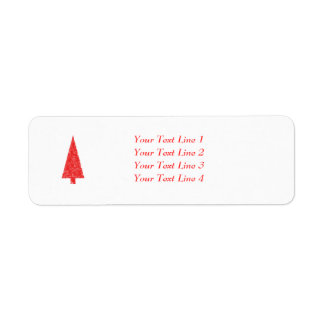Red Festive Tree. Red and White. Christmas. Return Address Label