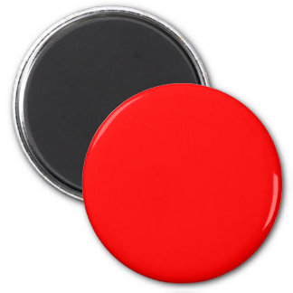 Red #FF0000 Solid Color 6 Cm Round Magnet