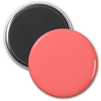 Red #FF6666 Solid Color 6 Cm Round Magnet