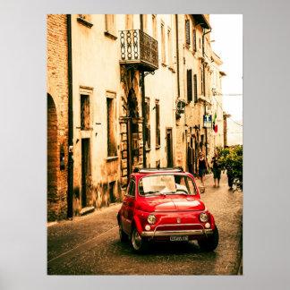 Red Fiat 500, vintage cinquecento, Umbria, Italy Print