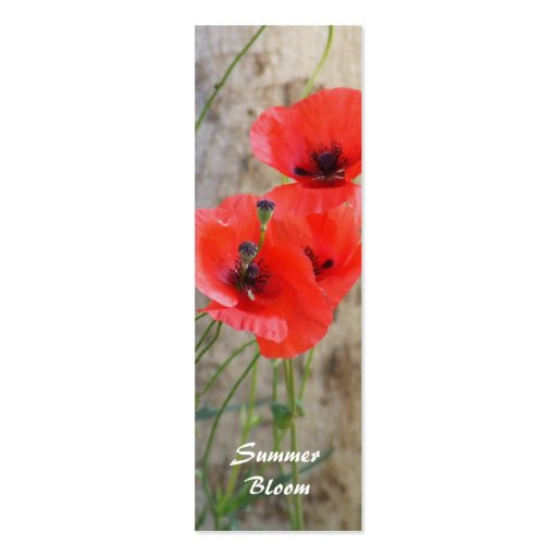 Red Field Corn Poppies Bookmark Business Card