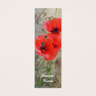 Red Field Corn Poppies Bookmark Mini Business Card