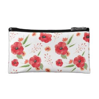 Red Field Flowers Pattern Cosmetics Bags