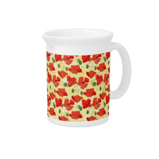 Red Field Poppies, Cornfield Yellow Pitcher or Jug