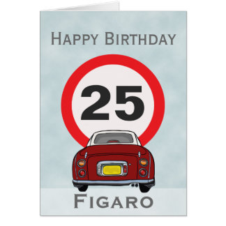 Red Figaro Car Happy Birthday Card